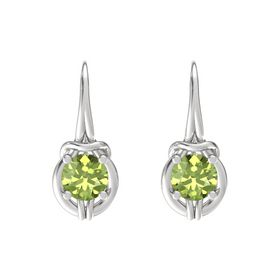 Round Peridot Sterling Silver Earrings