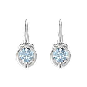Round Aquamarine Sterling Silver Earrings
