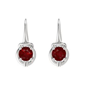 Round Ruby Sterling Silver Earrings