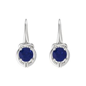 Round Blue Sapphire Sterling Silver Earring