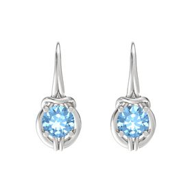 Round Blue Topaz Sterling Silver Earrings