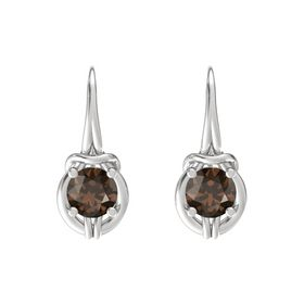 Round Smoky Quartz Sterling Silver Earrings