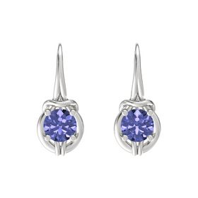 Round Tanzanite Sterling Silver Earrings