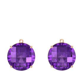 Checkerboard Round Pavilion Amethyst 14K Rose Gold Earring