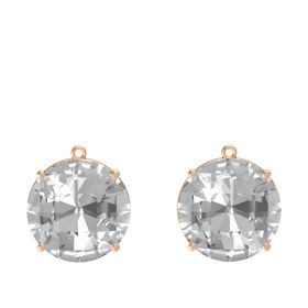 Checkerboard Round Pavilion Rock Crystal 14K Rose Gold Earring
