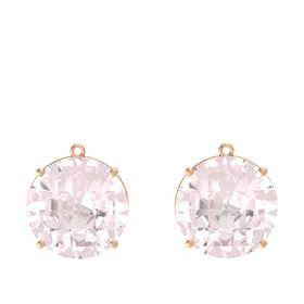 Checkerboard Round Pavilion Rose Quartz 14K Rose Gold Earring
