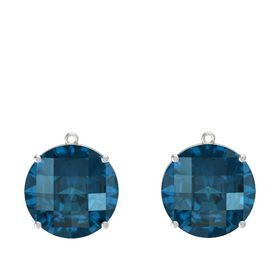 Checkerboard Round Pavilion London Blue Topaz 14K White Gold Earring