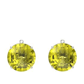 Checkerboard Round Pavilion Lemon Quartz 14K White Gold Earrings