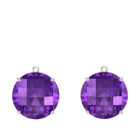 Checkerboard Round Pavilion Amethyst 14K White Gold Earring