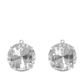 Checkerboard Round Pavilion Rock Crystal 14K White Gold Earring