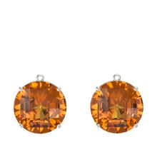 Checkerboard Round Pavilion Citrine 14K White Gold Earrings
