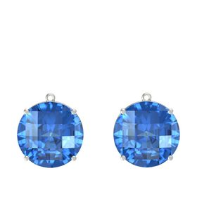 Checkerboard Round Pavilion Blue Topaz 14K White Gold Earrings