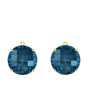 Checkerboard Round Pavilion London Blue Topaz 14K Yellow Gold Earrings