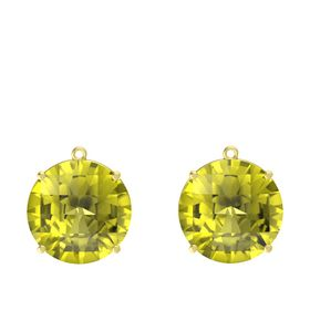 Checkerboard Round Pavilion Lemon Quartz 14K Yellow Gold Earring