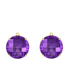 Checkerboard Round Pavilion Amethyst 14K Yellow Gold Earring