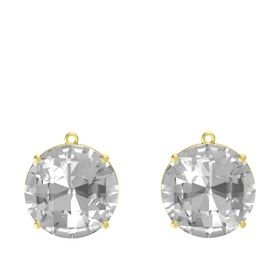 Checkerboard Round Pavilion Rock Crystal 14K Yellow Gold Earrings