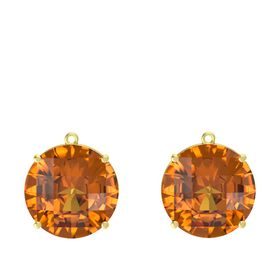 Checkerboard Round Pavilion Citrine 14K Yellow Gold Earring