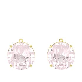 Checkerboard Round Pavilion Rose Quartz 14K Yellow Gold Earring