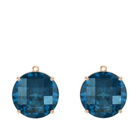 Checkerboard Round Pavilion London Blue Topaz 18K Rose Gold Earrings