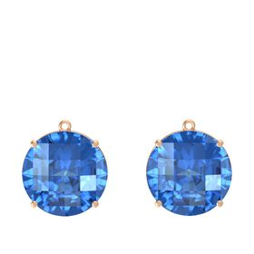 Checkerboard Round Pavilion Blue Topaz 18K Rose Gold Earrings