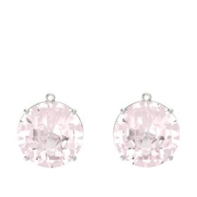 Checkerboard Round Pavilion Rose Quartz 18K White Gold Earring