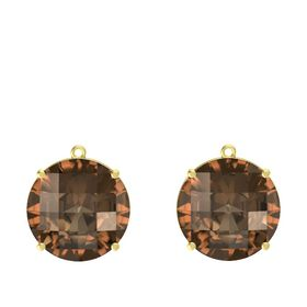 Checkerboard Round Pavilion Smoky Quartz 18K Yellow Gold Earrings