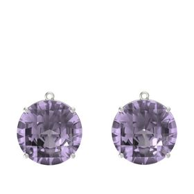 Checkerboard Round Pavilion Rose de France Platinum Earrings
