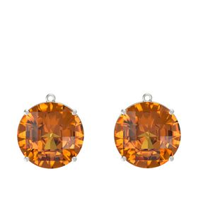 Checkerboard Round Pavilion Citrine Platinum Earrings