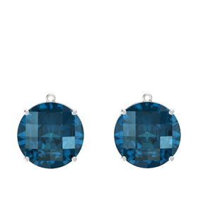 Checkerboard Round Pavilion London Blue Topaz Sterling Silver Earrings
