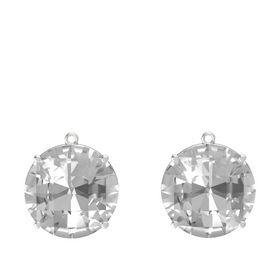 Checkerboard Round Pavilion Rock Crystal Sterling Silver Earrings