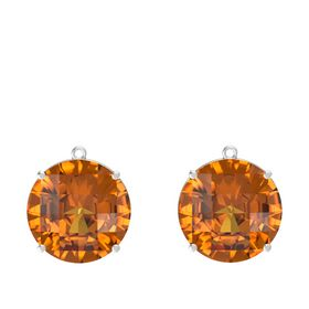 Checkerboard Round Pavilion Citrine Sterling Silver Earrings