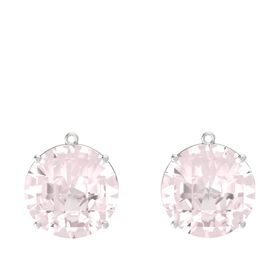 Checkerboard Round Pavilion Rose Quartz Sterling Silver Earrings