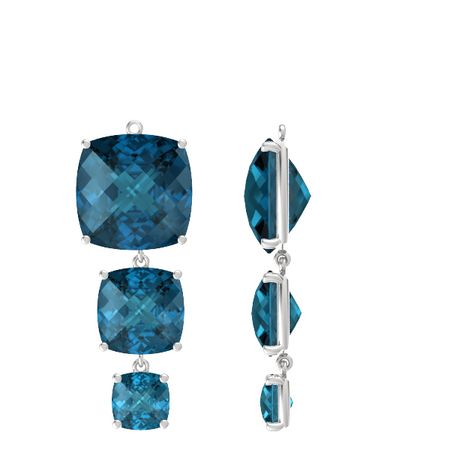Pure Cushion Triple Earrings