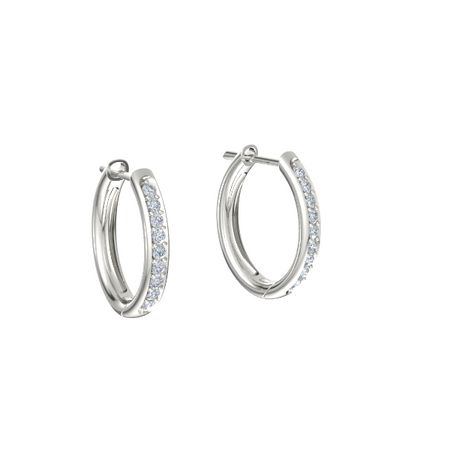 7ff4a84bc5824 Pave Petite Hoop Earrings (1.5mm gems) - 14K White Gold Earring with Diamond