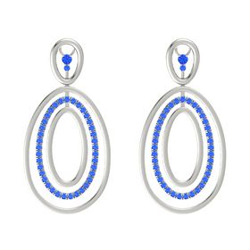 14K White Gold Earring with Blue Sapphire