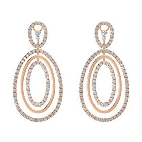 14K Rose Gold Earring with Rock Crystal and Diamond