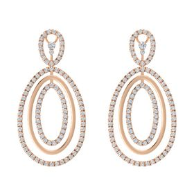 14K Rose Gold Earring with White Sapphire and Diamond