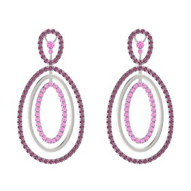 14K White Gold Earring with Rhodolite Garnet and Pink Sapphire