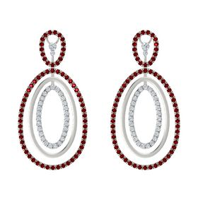 14K White Gold Earring with Ruby and Diamond