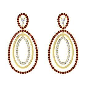 14K Yellow Gold Earring with Ruby and Diamond