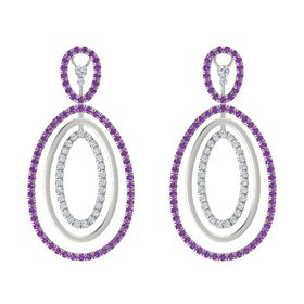 Platinum Earrings with Amethyst & Diamond