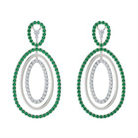 Platinum Earring with Emerald and Diamond