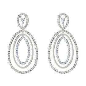 Platinum Earrings with White Sapphire & Diamond