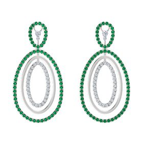 Sterling Silver Earrings with Emerald & Diamond