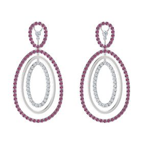 Sterling Silver Earrings with Rhodolite Garnet & Diamond