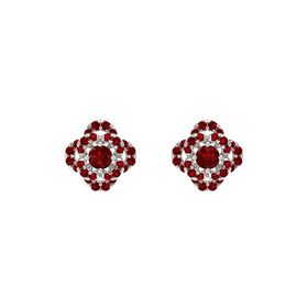 Round Ruby 14K White Gold Earring with Ruby