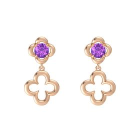 Round Amethyst 14K Rose Gold Earring