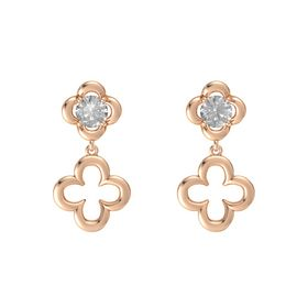 Round Rock Crystal 14K Rose Gold Earring