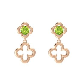 Round Peridot 14K Rose Gold Earring