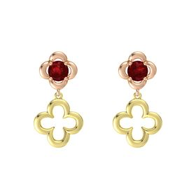 Round Ruby 14K Rose Gold Earring